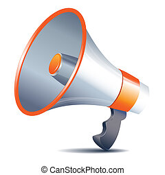 alto-falante, branca, megafone, fundo