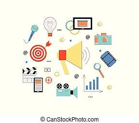 alto-falante, conceito, elements., tabuleta, teia, marketing, vídeo, mídia, câmera