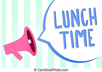 alto-falante, conceito, fundo, bubble., texto, após, refeição, listras, dia, meio, time., importante, fala, letra, jantar almoço, pequeno almoço, megafone, mensagem, significado, antes de