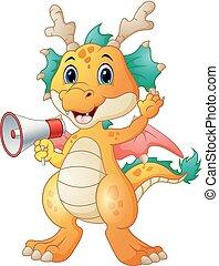 alto-falante, cute, caricatura, segurando, dragão