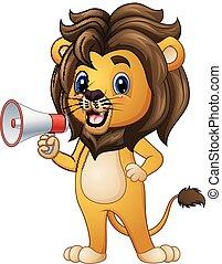 alto-falante, leão, caricatura, segurando