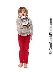 alto-falante, pequeno, gritando, menina