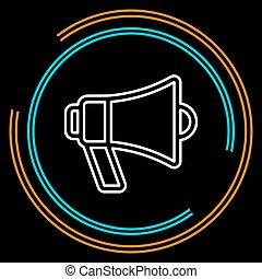 alto-falante, simples, vetorial, linha magra, megafone, ícone