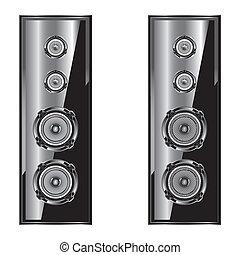 alto-falante, system., isolado, fundo, acústico, branca, áudio, speaker.