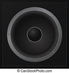 alto-falante, -, vetorial, closeup, pretas