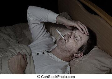 alto, febre, maduras, cama, homem