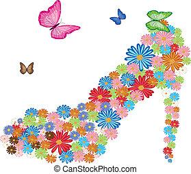 alto, flores, tacón
