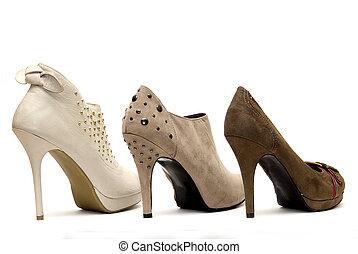 alto, fondo, talloni, ornato borchie, womens, bianco
