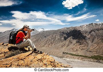 alto, fotógrafo, Montaña
