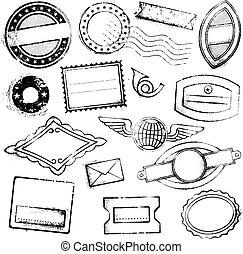 alto, genérico, selos, postal, detalhe