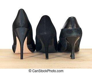 alto, heeled, sapato preto