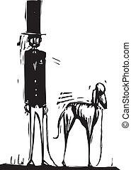 alto, hombre, con, perro