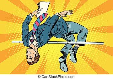 alto, hombre de negocios, salto