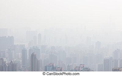 alto, hong, neblina, edificios, kong