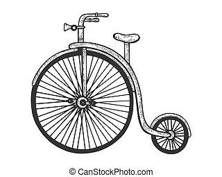 alto, image., design., schizzo, incisione, asse, illustration., disegnato, ruota, t-shirt, imitation., farthing, vettore, bicicletta, graffio, abbigliamento, stampa, penny, mano, stile