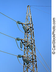 alto, insulators, temperado, vidro, pylon, cabos, voltagem
