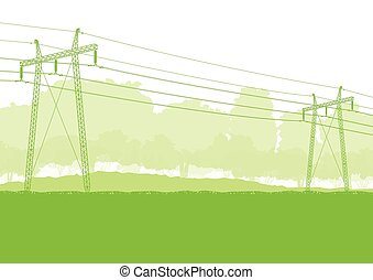 alto, línea, voltaje, potencia
