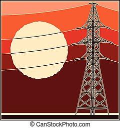 alto, líneas, voltaje, potencia