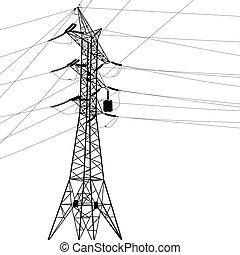 alto, lines., silueta, voltaje, potencia