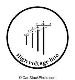 alto, linha, voltagem, ícone