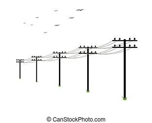 alto, linhas, voltagem, poder