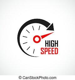 alto, logotipo, velocità