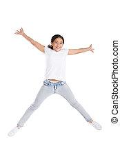alto, menina, pular, feliz