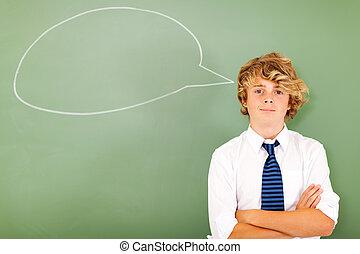 alto, menino, escola, pensando
