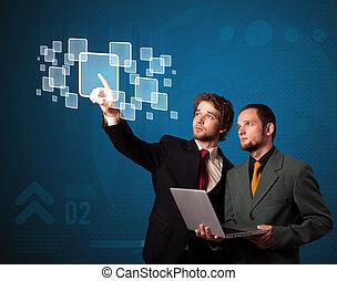 alto, moderno, Bottoni, urgente, tecnologia, uomo affari, Tipo