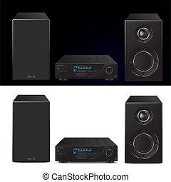 alto, moderno, fine, sistema, audio