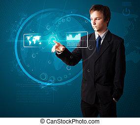 alto, modernos, botões, apertando, tech, homem negócios,...