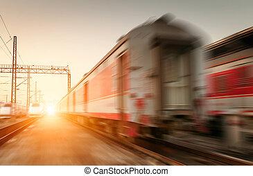 alto, modernos, dois, movimento, trem, borrão, velocidade
