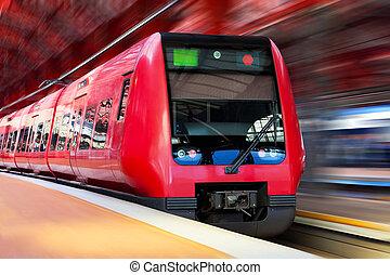 alto, modernos, movimento, trem, borrão, velocidade