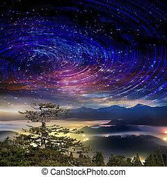 alto, montaña, galaxia