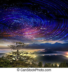 alto, montagna, galassia