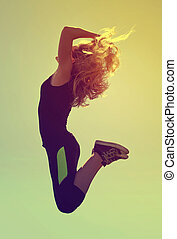 alto, mulher, pular