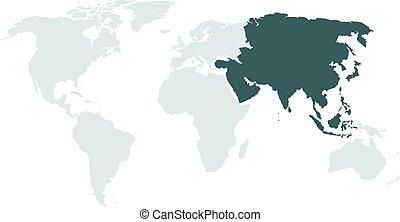 alto, mundo, mais claro, ásia, mapa