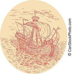 alto, navegación, mar, dibujo, tempestuoso, barco, oval