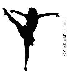 alto, niña, patada, bailando