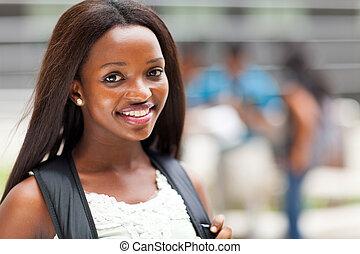 alto, norteamericano, estudiante de la escuela, africano