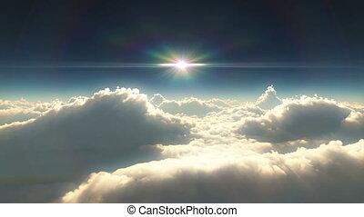 alto, Nuvens, pôr do sol
