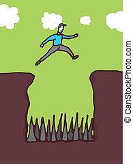 alto, ostacoli, superare, rischio