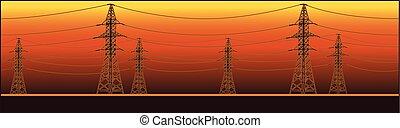 alto, panorámico, líneas, voltaje, potencia