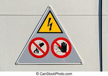 alto, peligro, voltaje, señal
