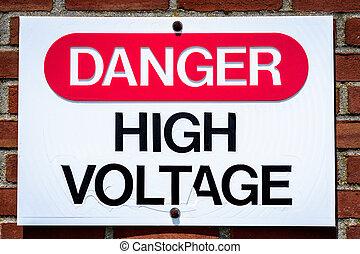 alto, pericolo, tensione, segno