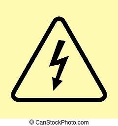 alto, perigo, voltagem, sinal