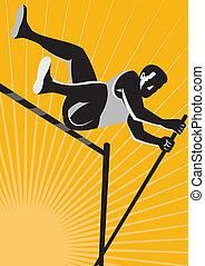 alto, pista, atleta, salto, campo, poste, retro, cámara acorazada