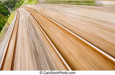 alto, pista, borrão moção, estrada ferro, velocidade