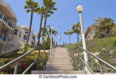 alto, praia, escadaria, california., longo