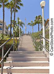 alto, praia, longo, escadaria, california.